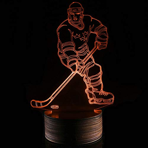 Novelty Lamp, 3D LED Lamp Hockey Player Optical Illusion Night Light, USB Powered Remote Control Changes The Color of The Light, Ideal Gift for Children's Friends and Family,Ambient Light by LIX-XYD (Image #8)