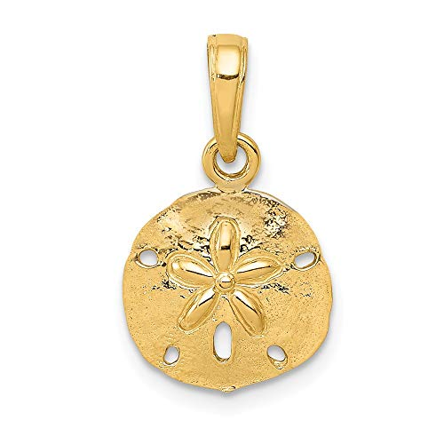 (Jewel Tie 14K Yellow Gold Polished Sand Dollar Pendant)