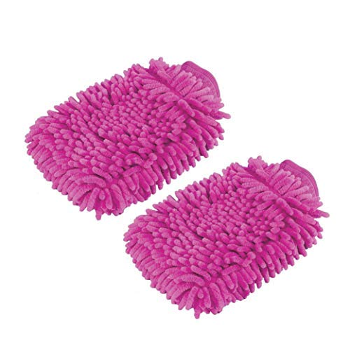 2 Pack. Premium car wash Microfiber Chenille mitt. Super auto Absorbent. Ultrafine Sponge Fiber Glove. Professional Cleaning at Home, Kitchen, Hand car Washing Care. Soap Chemical Resistant. (Pink)