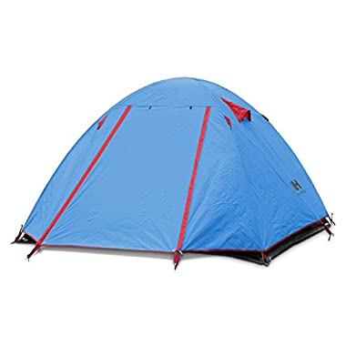 Weanas Waterproof Double Layer 2, 3, 4 Person 3 Season Aluminum Rod Double Skylight Outdoor Camping Tent (Blue, 3 Person)
