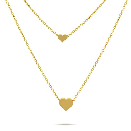 Double Hearts Necklace Tiny Hearts Necklace, Modern Minimal Layered Necklace Dainty Jewelry Necklace 15inch + 2 Extension w Clasp (gold-plated-base) (Heart Double Floating)