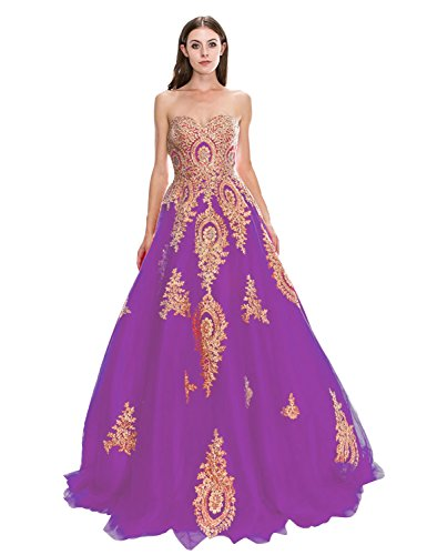 Women's Tulle Sweetheart Long Evening Dress A Line Applique Formal Prom Gown Grape US8