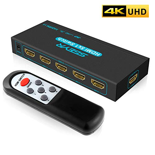 SGEYR 4K 5x1 HDMI Switch V1.4 5 Port HDMI Switcher 5 in 1 Out HDMI Switch Selector Box with IR Remote Control Support 4K 30HZ 3D 1080P for Xbox PS4 ()