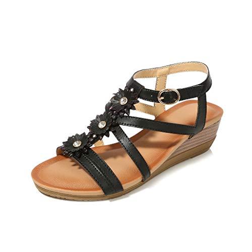 ♡QueenBB♡ Womens Wedge Sandals Summer Rhinestone Bohemian Beaded Ankle Strap Beach Wear Sandal Black