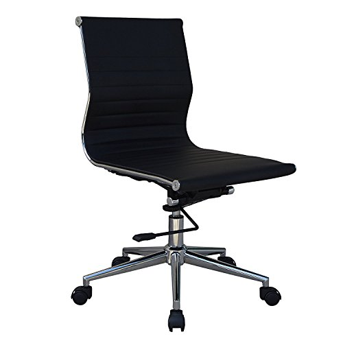 Mid-Back Armless Ribbed Upholstered Leather Swivel Conference Chair (Black)