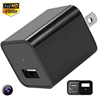 Motion Activated Home Security Camera USB Charger Records 1080p with 32GB Internal Memory No SD Card Needed for HD Hidden Camera Nanny Cam House Protection