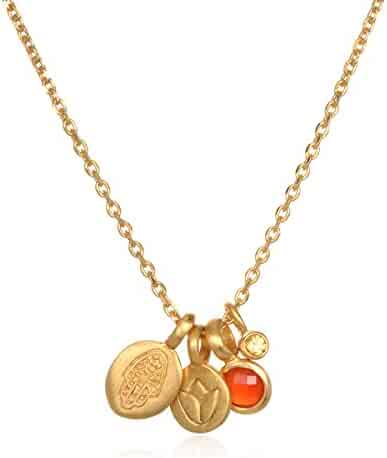 Satya Jewelry Women's Carnelian Gold Hamsa & Lotus Charm Pendant Necklace 18-Inch, Orange, One Size