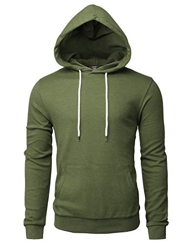 H2H Men's Hooded Shirts Casual Slim Fit Long Sleeve T Shirt Hoodies OliveGreen US M/Asia L (CMOHOL050)