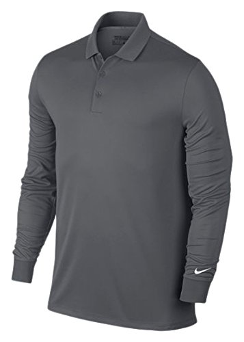 Nike Golf Victory Longsleeve Polo (Dark Grey/White) (Long Sleeve Golf Shirt)