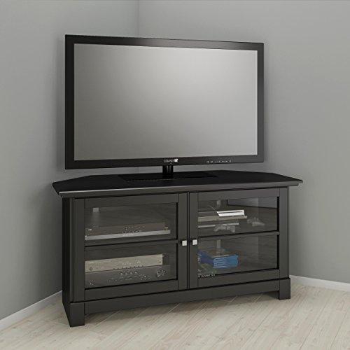 Nexera Pinnacle 49-inch Modern Unit 102906 Black Corner TV Stand,