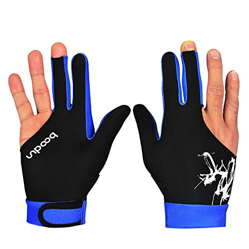 - Cocal Fahion Practical Style Spandex Snooker Three-Finger Billiard Glove Pool Left and Right Hand Open, Perfect Supplies for Billiard Lovers (Blue, L)