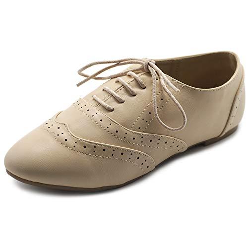 Beige Oxford - Ollio Women's Shoe Classic Lace Up Dress Low Flat Heel Oxford M1914(8.5 B(M) US, Beige)