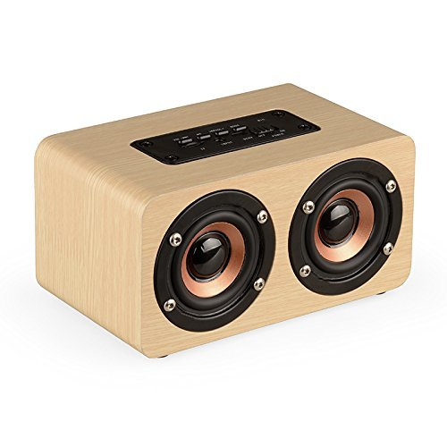 TechCode Camping Wireless Speaker Wooden, Portable High Definition Intelligent Handsfree TF Card Aux Speaker Stereo Music Subwoofer for All Bluetooth Devices or More(Yellow)
