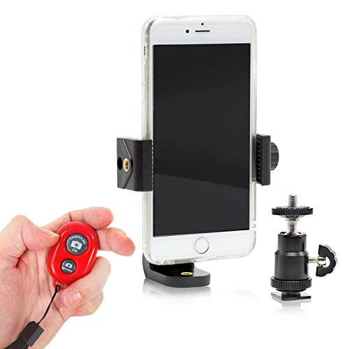 Julius Studio Cell Phone Spring Clip Holder 1/4' Ball Head Hot Shoe Mount Adapter Bluetooth Remote Camera Shutter Android Phones iPhone, JSAG479