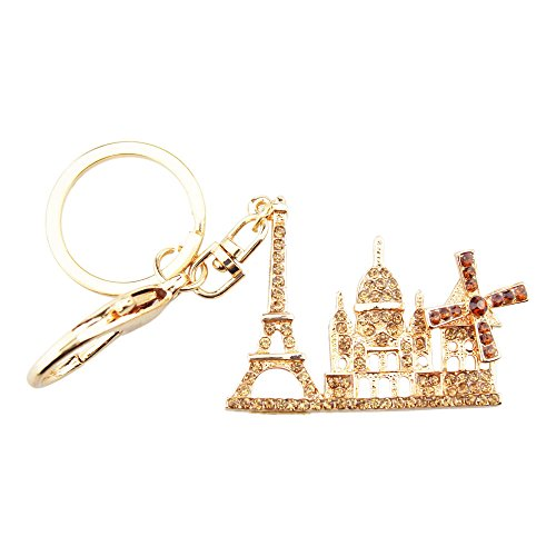 Windmill Tower (FOY-MALL Fashion Eiffel Tower Windmill Crystal Alloy Women Bag Charm Key Ring H1167M)