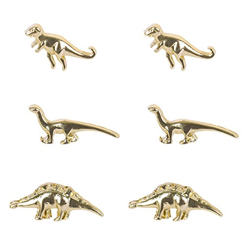 Chiclala Accessories 3 Pairs of T Rex Dinosaur Vintage Inspired Stud Earrings Set, Punk Jewelry (Gold)
