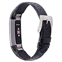 iGK Genuine Leather Replacement Compatible for Fitbit Alta Band and Fitbit Alta HR Bands, Leather Wristbands Straps for Women Men