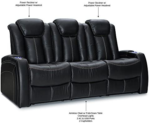 Seatcraft Republic Leather Home Theater Seating Power Recline – Row of 3 Sofa w Drop-Down Table, Black