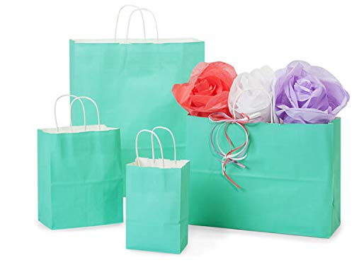 (Aqua White Tint Gift Bags - Aqua White Kraft Assortment 50 Cub, 25 Each Rose,Vogue & Queen (125 bags) - WRAPS-AQWA)