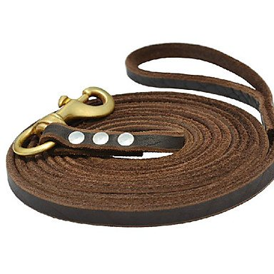 Cody Buckle (QINF Cody Durable Cow Leather Leashes with Brass Buckle for s)