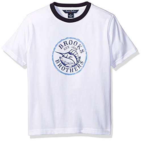 Price comparison product image Brooks Brothers Big Boys' Knit Screenprint Tee,  Bright White Marlin Screen Print,  Medium