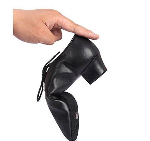 Lihaer Uomo Latin Jazz Scarpe da Ballo Morbide E Comode Scarpe da Ballo Nere di Cuoio per bambini per Adulti