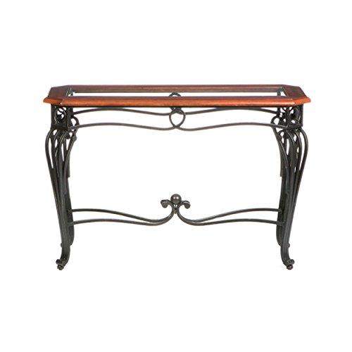 Prentice Sofa Console Table Dark Cherry W Black Metal Frame Glass Top
