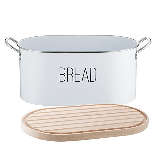 Typhoon Vintage Mayfair Coated Steel Bread Bin with Reversible Beechwood Lid, Can Be Used As Chopping Board; 13-1/2-Inches by 7-3/4-Inches by 6-Inches; Gray and -