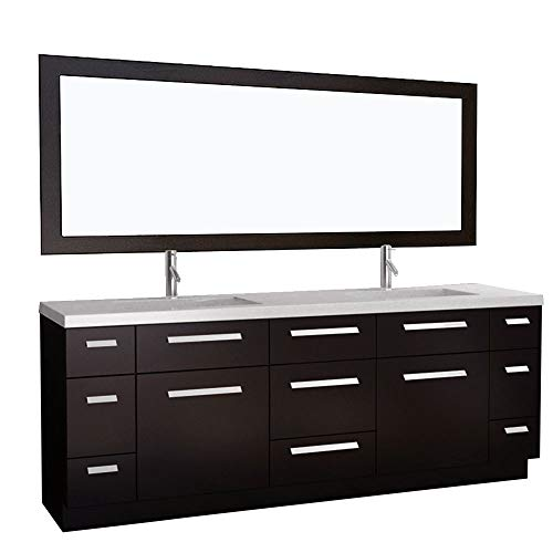 Design Element Moscony Double Sink Vanity Setwith Espresso Finish, -