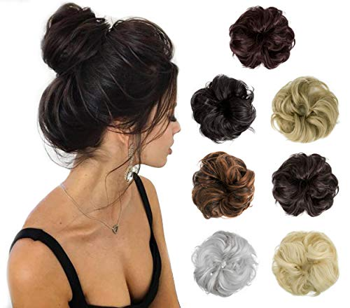 Felendy Hair Bun Extension Messy Donut Chignons Wedding Hairpiece Thick Curly Wavy Hair Updo for Women Lady Girl