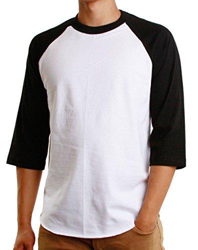 Hat and Beyond Men's Baseball Raglan 3/4 Sleeves Casual T-Shirts Plain Cotton Jersey S-3xl (2X-Large, 1ks01_ White/Black)