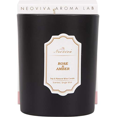 NEOVIVA Soy and Natural Wax Blended Candle in High Decorative Black Jar, Rose and Amber Scented, Aprox. 30 Burning ()