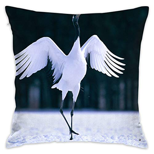 (Yangkun Throw Pillow Covers Red Crowned Crane 18 X 18 Inches Cushion Sham for Couch Bed Sofa Painted Colorful Geometric Print Daily Decorations for Home D¡§|cor Square Coastal Cushion)