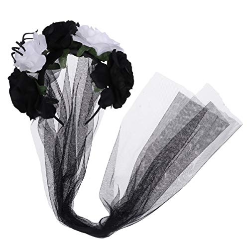 Amosfun Flower Veil Lace Rose Headband Headpiece Halloween Party Veil White Black]()