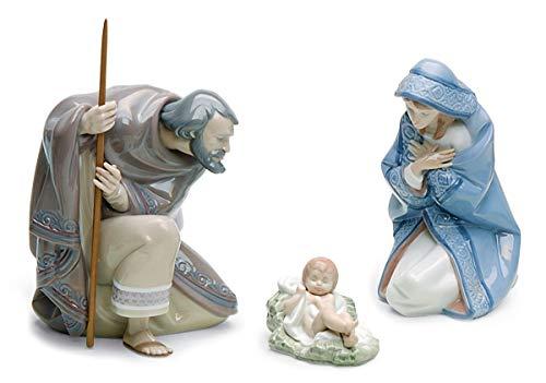 Lladro Porcelain 3-Piece Nativity Set with Saint Joseph (#5476), Virgin Mary (#5477), Baby Jesus (#5478)