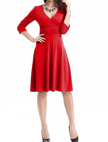 Coolred-femmes Mode Moitié Manches Profonde Robe Swing Affaires V-cou Rouge