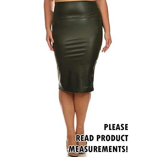 7fa9027cc 85%OFF Women's Plus Size Faux Leather Pencil Skirt Pleather Below Knee High  Waist