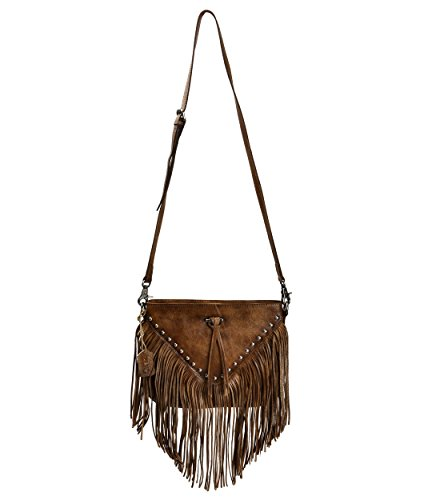 ZLYC Women Handmade Dip Dye Leather Fringe Bohemian Tassel Bag Studed Cross Body Bag, Brown