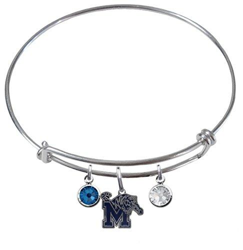 (Memphis Tigers Expandable Wire Charm Bracelet Bangle w/ Team Color Crystals)