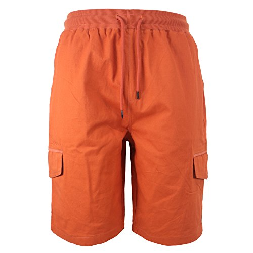 TanBridge Men's Cotton Cargo Shorts with Pockets Loose Fit Outdoor Wear Twill Elastic Waist Shorts Orange 34