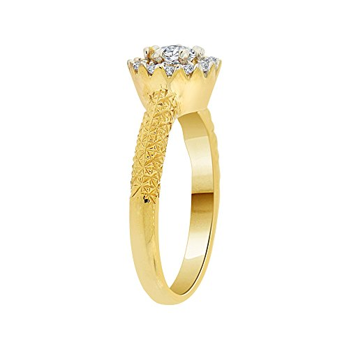 14k Yellow Gold, Lady Fancy Engagement Ring Round Created CZ Crystals 0.75ct Size 7.5 by GiveMeGold (Image #1)