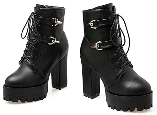 Easemax Women's Retro Side Zipper Chunky High Heels Round Toe Ankle High Martin Boots With Platform Black Sojpebv1