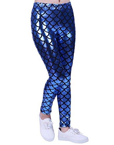HDE Girl's Shiny Mermaid Leggings Metallic Fish Scale Tights Mermaid Costume (Blue, 7/8) (Mermaid Outfits For Kids)