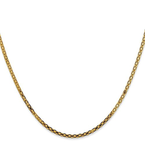 14K Yellow Gold 2.00MM Light Weight Handmade Bismark Link Chain Neclklace, 16