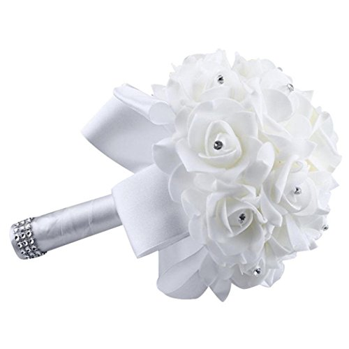 Wondere Artificial Flowers, Crystal Roses Pearl Bridesmaid Wedding Bouquet Bridal Artificial Silk Flowers (White)
