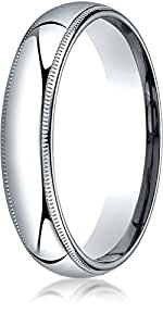 Benchmark 14K White Gold 5mm Slightly Domed Standard Comfort-Fit Wedding Ring with Milgrain, Size 14.25