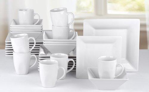 922968f64952 32 Piece Manhattan White Square Stoneware Dinner Set  Amazon.co.uk  Kitchen    Home