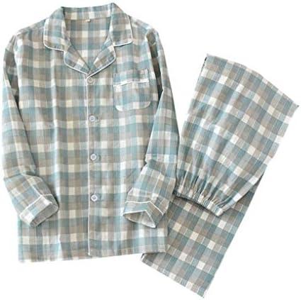 パジャマ メンズ 綿100% 前開き ダブルガーゼ生地 ルームウェア 上下セット 長袖 ロングパンツ 可愛い 吸汗速乾 肌にやさしい 薄手 春夏秋冬 男性