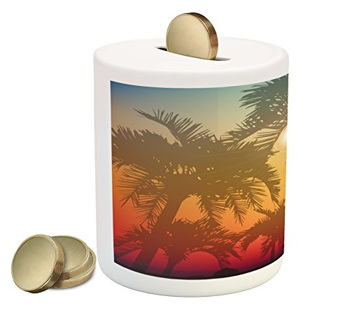 Lunarable Hawaiian Piggy Bank, Los Angeles Miami Tropical Places Palm Trees in Abstract Style Art Print, Printed Ceramic Coin Bank Money Box for Cash Saving, Grey and Orange