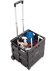 "Safco Stow Away Folding Caddy -Telescopic Handle -50 lb Capacity -2 Caster -16.5""x14.5""x39"" -Silver"